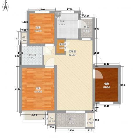 天华绿谷庄园3室0厅1卫1厨93.00㎡户型图