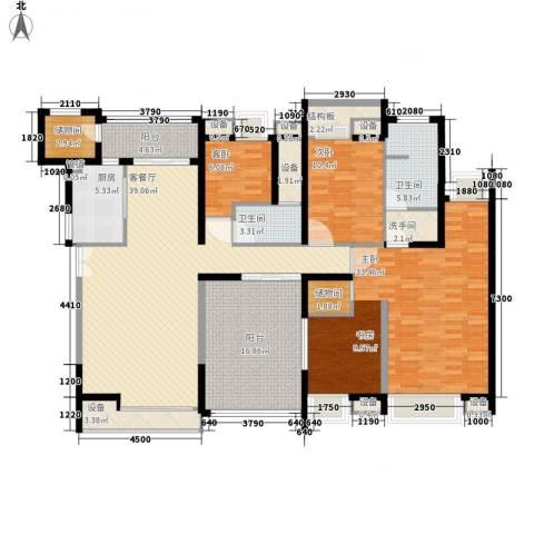 翔园大厦3室1厅2卫1厨160.00㎡户型图