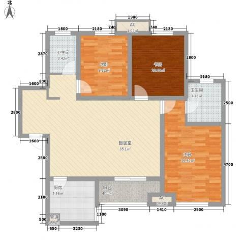 金辉天鹅湾3室0厅2卫1厨132.00㎡户型图