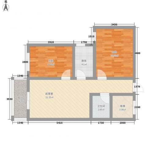 融城国际2室0厅1卫1厨86.00㎡户型图