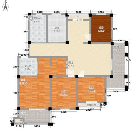 长宏水岸名城4室0厅2卫1厨151.00㎡户型图