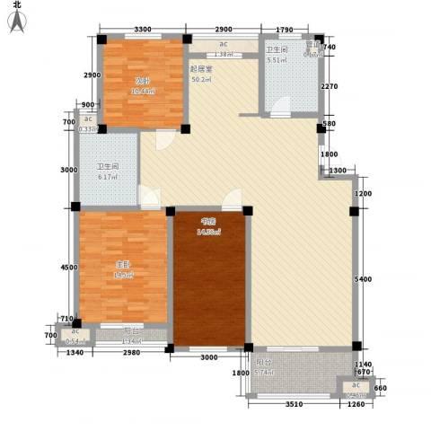 长宏水岸名城3室0厅2卫0厨130.00㎡户型图