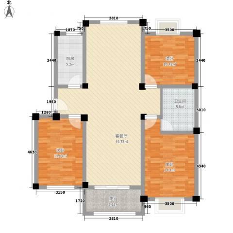 金和家园3室1厅1卫1厨138.00㎡户型图