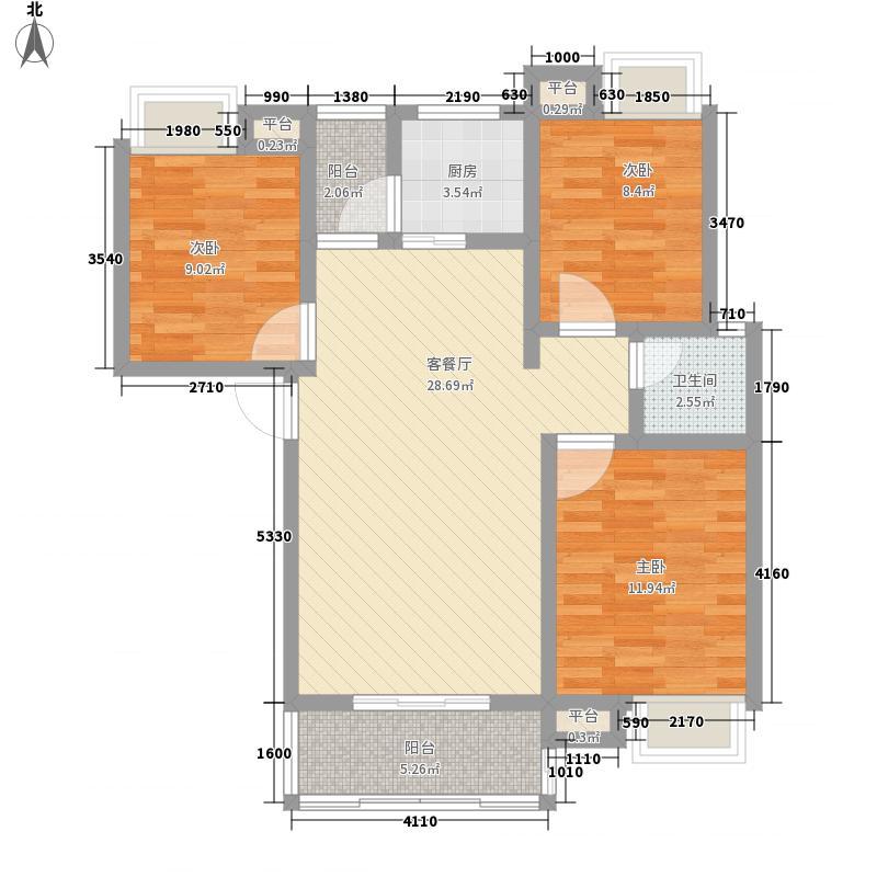 翰林城16.00㎡11层小高层H2户型3室2厅1卫1厨