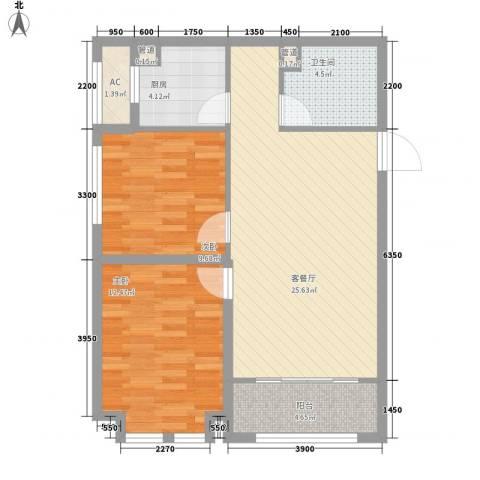 远洋广场2室1厅1卫1厨87.00㎡户型图