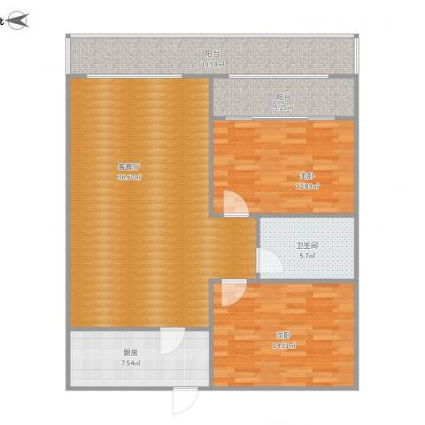 城市风景三期2室1厅1卫1厨124.00㎡户型图