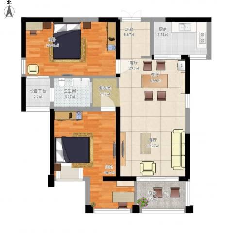 联发君悦湖2室1厅1卫1厨110.00㎡户型图