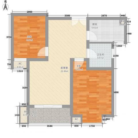阳光水世界2室0厅1卫1厨88.00㎡户型图
