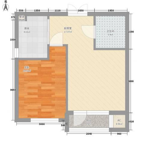 青果公寓1室0厅1卫1厨54.00㎡户型图