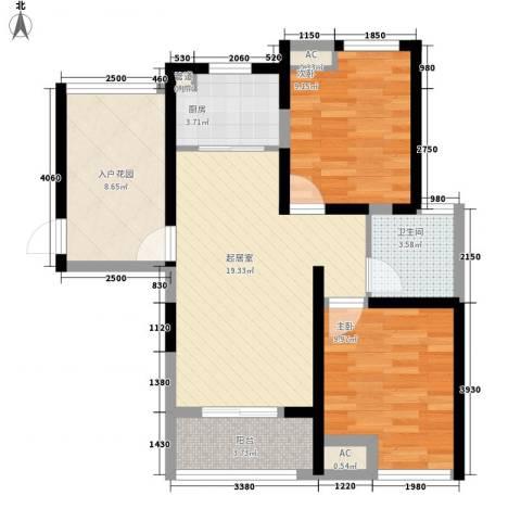 阳光水世界2室0厅1卫1厨87.00㎡户型图