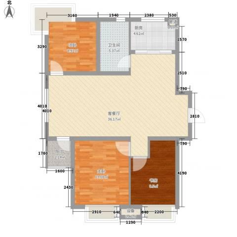 幸福E家四期3室1厅1卫1厨91.20㎡户型图