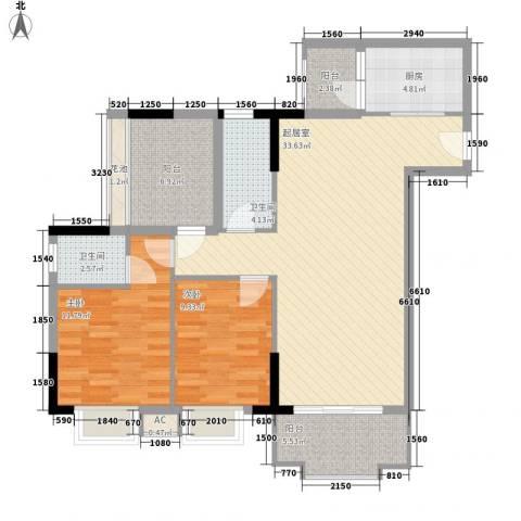 一江名城2室0厅2卫1厨82.76㎡户型图