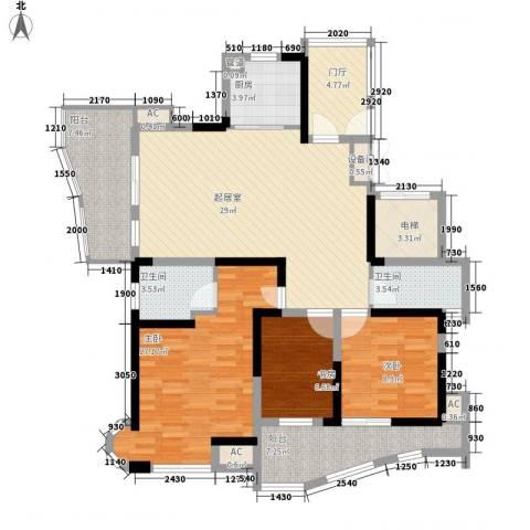 阳光水世界3室0厅2卫1厨143.00㎡户型图