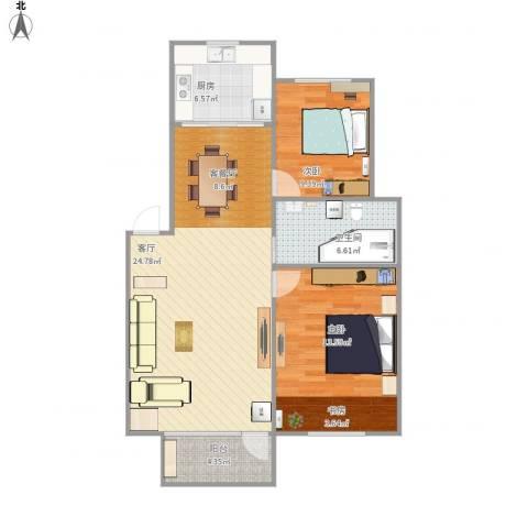 魅力之城2室1厅1卫1厨97.00㎡户型图