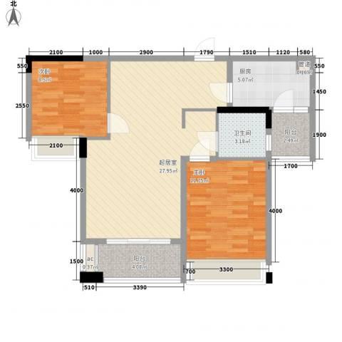 万林湖别墅2室0厅1卫1厨85.00㎡户型图