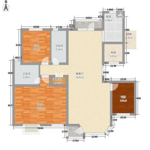 幸福E家四期3室1厅2卫1厨124.00㎡户型图