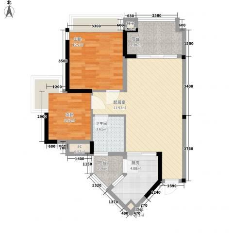万林湖别墅2室0厅1卫1厨74.00㎡户型图