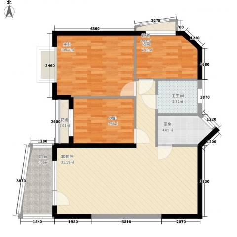 聚豪园3室1厅1卫1厨106.00㎡户型图