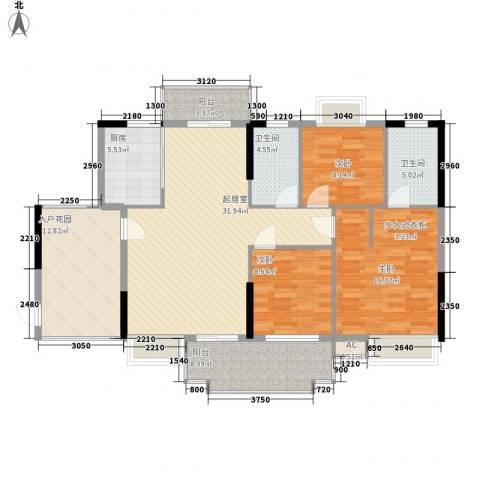 一江名城3室0厅2卫1厨127.00㎡户型图