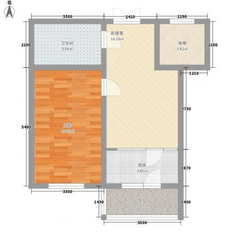 航萃园二期1室0厅1卫1厨66.00㎡户型图
