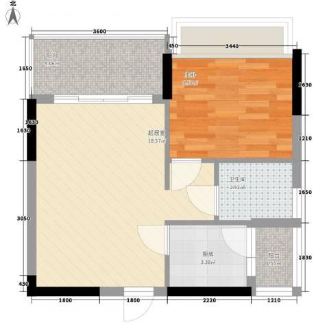 一江名城1室0厅1卫1厨51.00㎡户型图