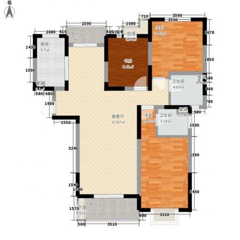 地安汉城国际3室1厅2卫1厨138.00㎡户型图