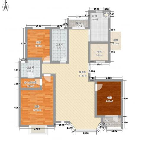 幸福E家四期3室1厅2卫1厨111.20㎡户型图