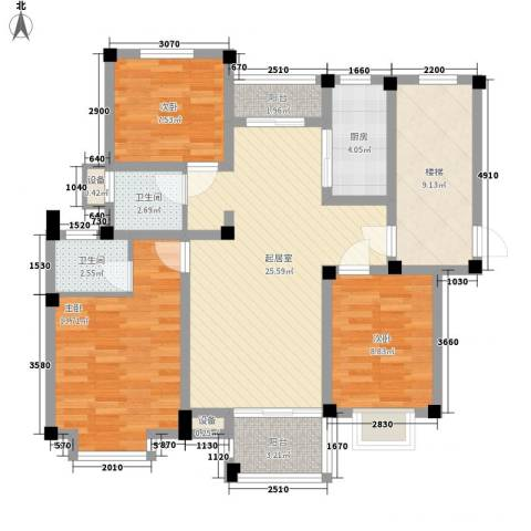 茉莉花园3室0厅2卫1厨94.66㎡户型图