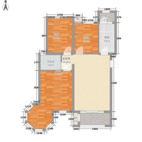 永裕枫景3室0厅1卫1厨74.98㎡户型图