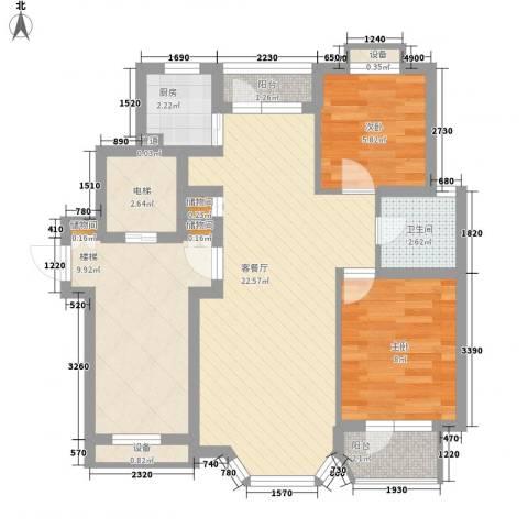 幸福E家四期2室1厅1卫1厨70.40㎡户型图