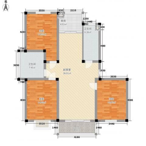 茉莉花园3室0厅2卫1厨116.49㎡户型图