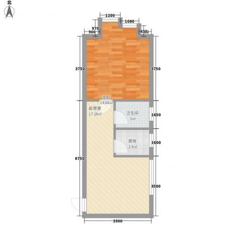 青果公寓1室0厅1卫1厨67.00㎡户型图