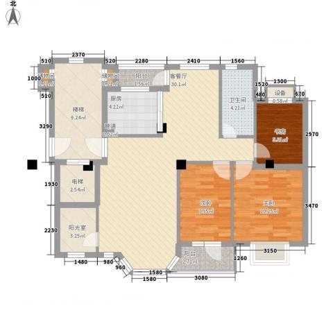 幸福E家四期3室1厅1卫1厨96.29㎡户型图