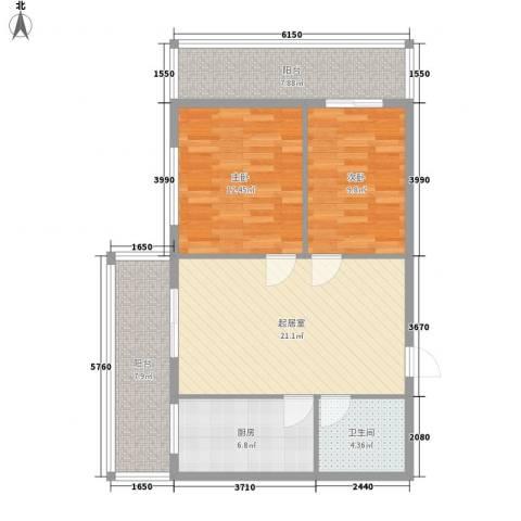 隆庆河畔家园2室0厅1卫1厨70.29㎡户型图