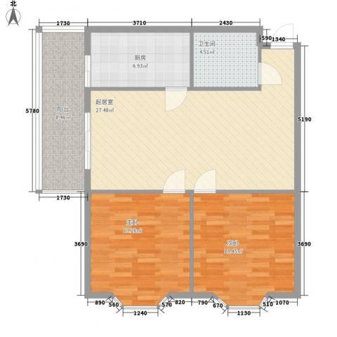 隆庆河畔家园2室0厅1卫1厨74.09㎡户型图