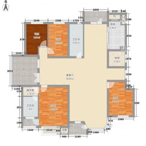 幸福E家四期4室1厅2卫1厨196.00㎡户型图