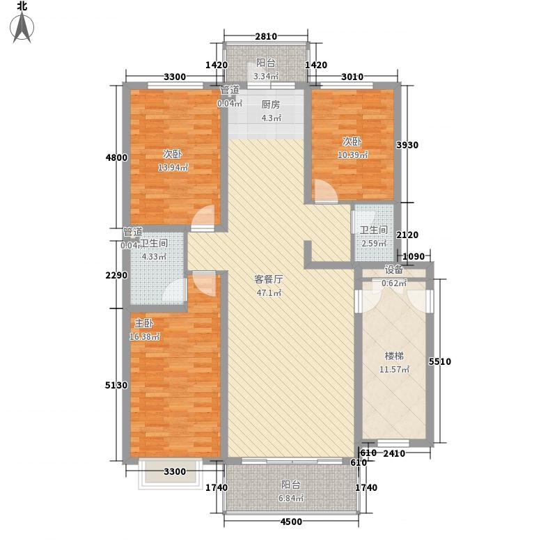 俪城户型图J户型 3室2厅2卫1厨
