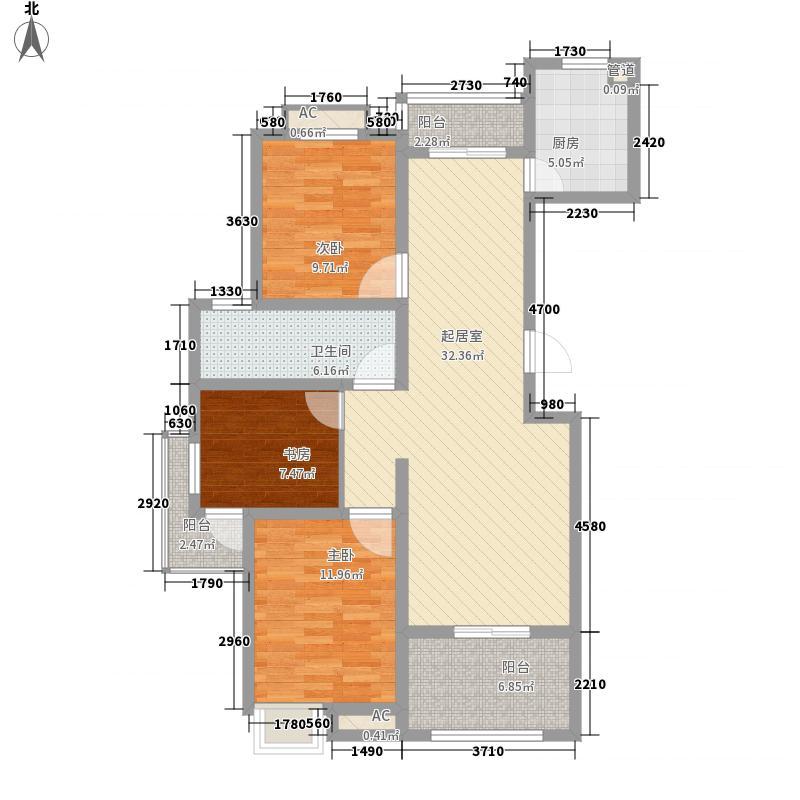 龙韵怡景苑125.21㎡F户型3室2厅1卫