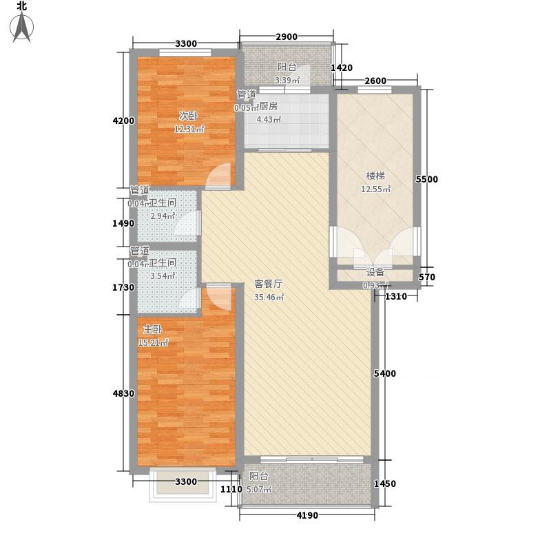 俪城户型图G户型 2室2厅2卫1厨