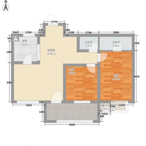 丽景天下2室0厅2卫1厨88.00㎡户型图