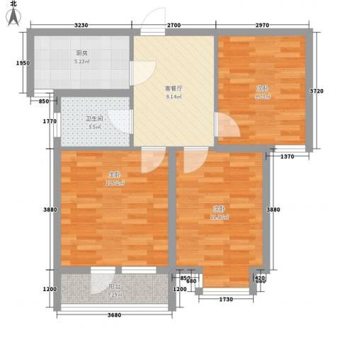 金茂城市花园3室1厅1卫1厨79.00㎡户型图