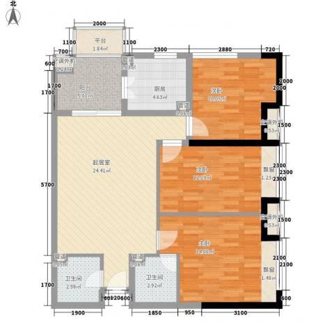 新世纪星城美寓3室0厅2卫1厨107.00㎡户型图