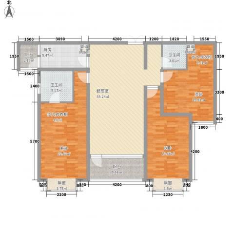 湖泉湾1号3室0厅2卫1厨139.00㎡户型图