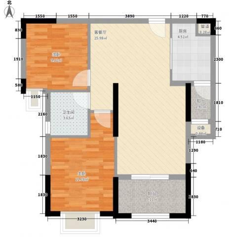 华强城公园1号2室1厅1卫1厨89.00㎡户型图