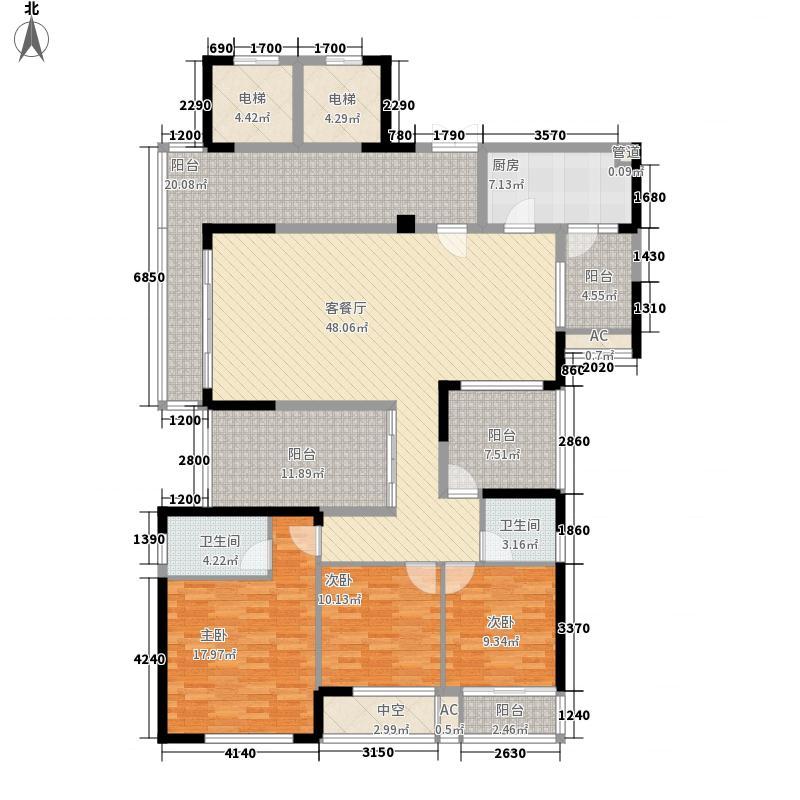 金地九珑璧169.00㎡金地九珑璧户型图二期棠玺5号楼4层J户型01单元3室2厅2卫户型3室2厅2卫