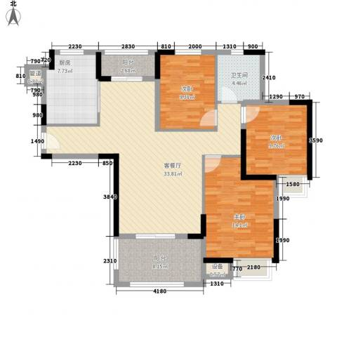 华强城公园1号3室1厅1卫1厨113.00㎡户型图