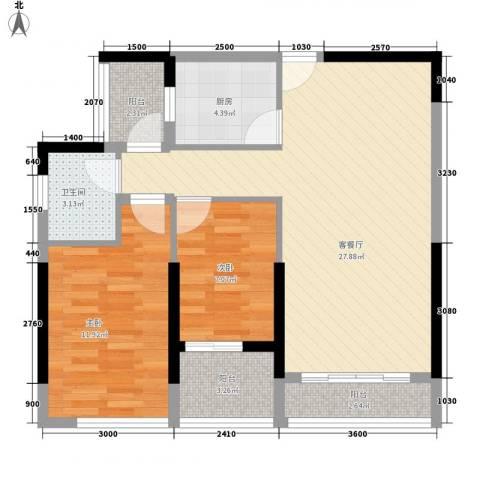 长安地王广场2室1厅1卫1厨179.00㎡户型图