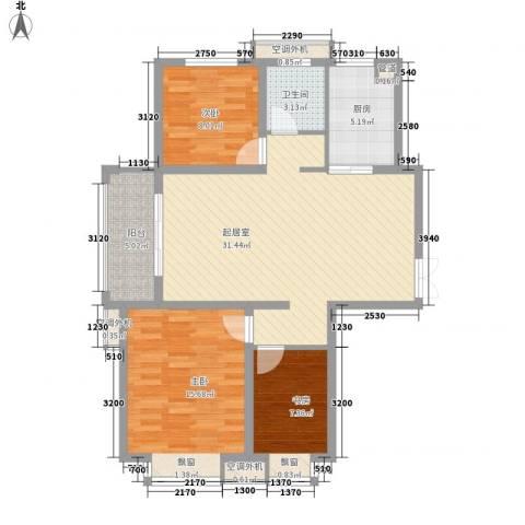 五洲国际广场3室0厅1卫1厨109.00㎡户型图