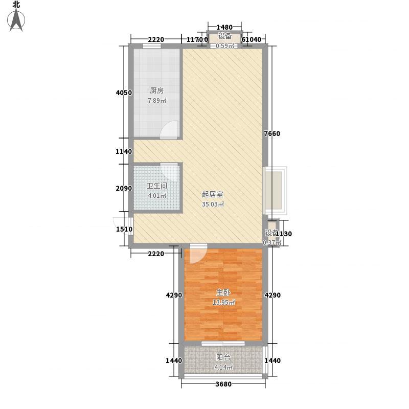 万浩家园二期1.45㎡2号楼B户型2室1厅1卫1厨