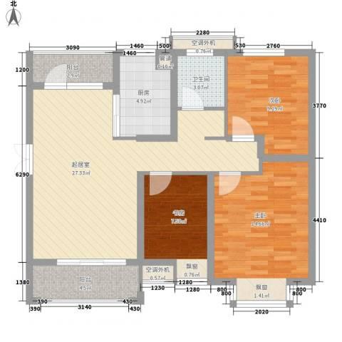 五洲国际广场3室0厅1卫1厨108.00㎡户型图